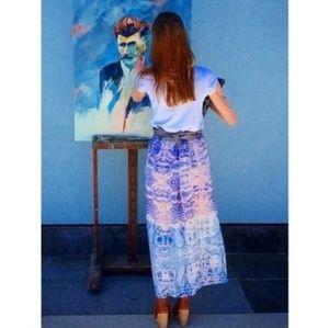 Anthropologie Maeve Waimea Blue Motif Maxi Skirt